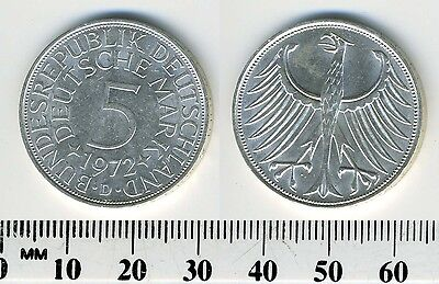 Federal Republic of Germany 1972 D - 5 Mark Silver Coin - Munich mint