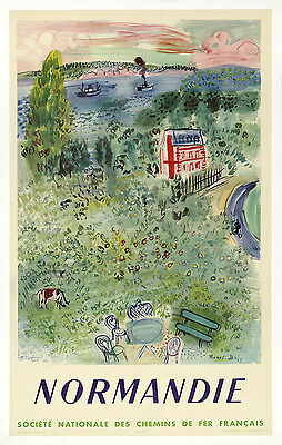 ON LINEN-ORIGINAL Vintage Travel Poster Normandie NORMANDY France French Railway