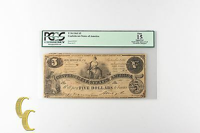 1861 $5 Confederate States Note Graded by PCGS as Fine 15 Apparent T-36