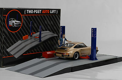Lift Garage Diorama Two Post Lift variable 1:24 without Figurine Porsche