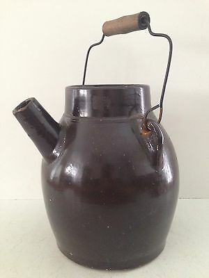 Antique Stoneware Butter Crock with Bail Handle Primitive Country Home Decor