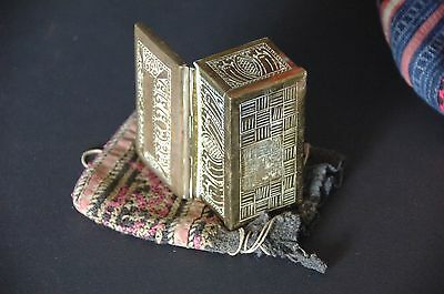 Old Ornate Brass Middle Eastern Money / Jewelry Box  …in hand sewn pouch