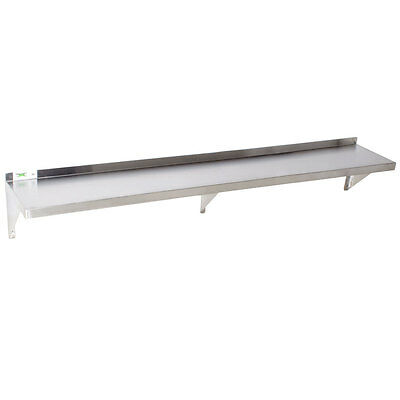 "16 Gauge NSF Restaurant Stainless Steel 12"" x 72"" Solid Wall Shelf 600WS1272HD"