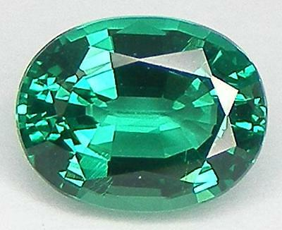 EXCELLENT CUT OVAL 9x7 MM. LAB CREATED NANOCRYSTAL EMERALD