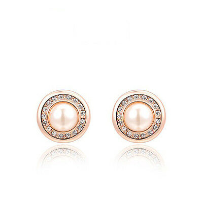 18K Rose Gold Plated Austrian Crystal Pearl Stud Earrings Fashion Jewellery