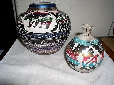 2 - Native American Hand Painted Incised Pottery