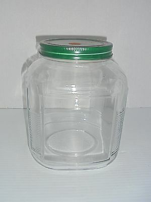 Old Fashioned Anchor Hocking Glass Hoosier Style Canister Jar Metal Lid