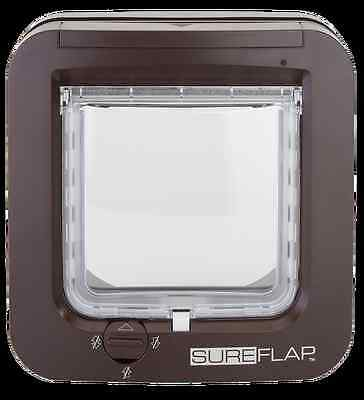 NEW BROWN SureFlap Microchip Cat Flap Pet Door. Keep out unwanted cats. No Power