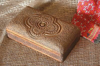 Old Asian Intricately Carved Wooden Box …beautiful detail
