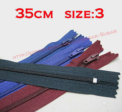 """- New - Nylon Dress Zip/Zipper (14"""") 35cm Assorted Colours Closed End Sewing"""