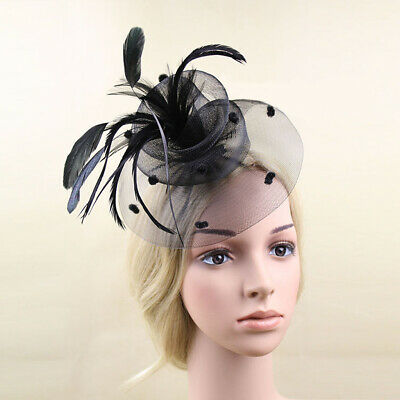 Vintage Mini Top Hat Feather Net Hair Clip Veil Fascinator for Lady Black
