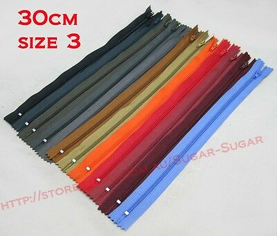 "Nylon Dress Zip/Zipper (12"") 30cm Assorted Colours Available Closed End Sewing"