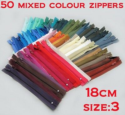 "- New - 50 Nylon Dress Zip/Zipper (7"") 18cm Assorted Colours Closed End Sewing"