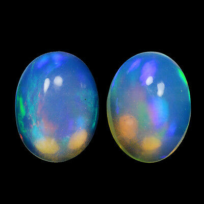 2.21Cts Natural White Welo Ethiopian Opal Pair Top Fire Gemstone Oval Cabochon