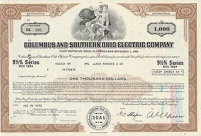 Mds Usa Columbus And Southern Ohio Electric Company First Mortgage Bond 9 1/2 %