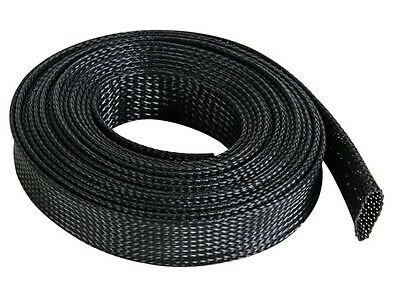 Braided Sleeving Cable Harness Sheathing Expanding Sleeve in Black. Many sizes!