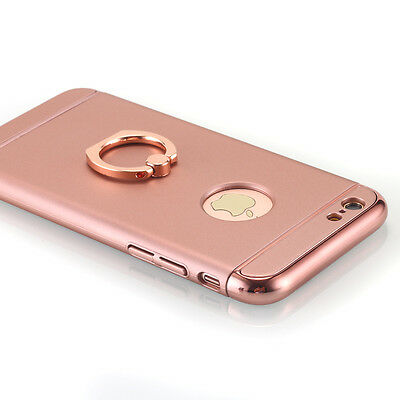 Rose Gold Ultra-thin Metal Hard Stand Holder Ring Case Cover for iPhone 6s 6