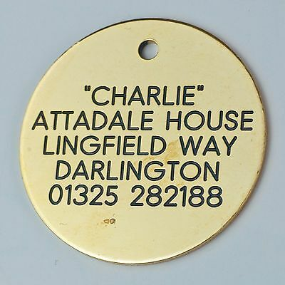 Quality Engraved Pet tag -Large 38mm circle Brass tag • EUR 6,51