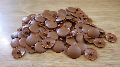 100 Light Brown Plastic Pozi Cross Point Screw Covers Head Push On Caps M498-04