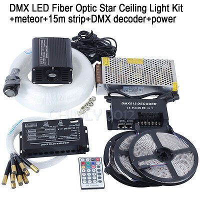 DMX 16W RGBW LED Fiber Optic Star Ceiling Kit +meteor+strip+DMX decoder+power