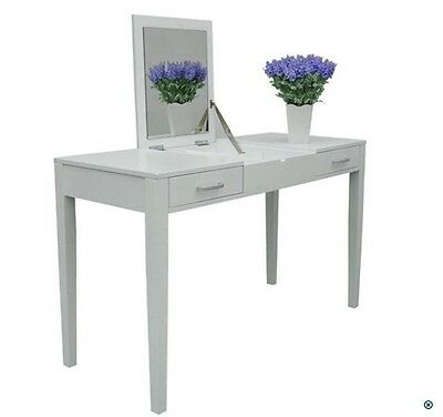 Make Up Table White Dressing Desk Vanity Mirror Jewelry Storage Drawer Console