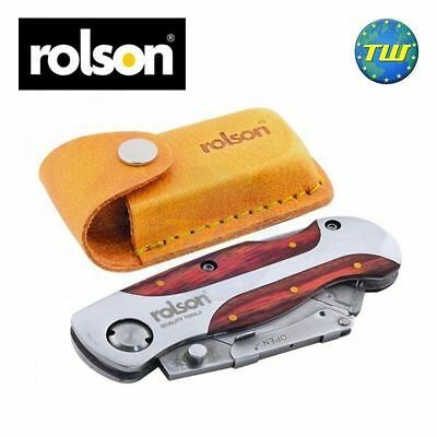 Rolson Folding Hard Wood Finish Utility Knife with Leather Type Pouch NO BLADE