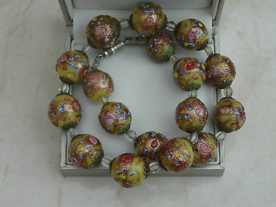 Antique Superb Quality Heavy Roses Lampwork Venetian Glass Bead Necklace 102g