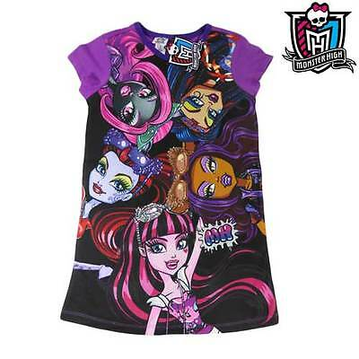 *NEW* Girls Purple Cotton Monster High Dress Tee T-Shirt Top Size 7 8 10 12 14