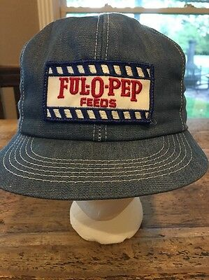 Vintage Ful-O-Pep Feed Snapback Hat Cap Denim Patch Ful O Pep Blue Red Rare!