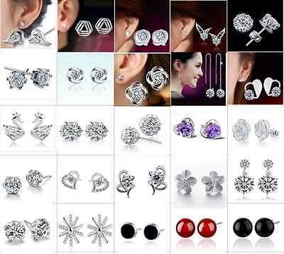 Wholesale 925 Sterling Silver Earrings Ear Stud Women Fashion Jewelry Gift New