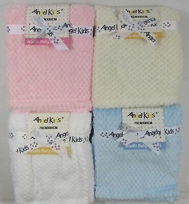 Baby Babies Clothes Unisex White Pink Blue Cream Waffle Blanket 75cm x 90cm