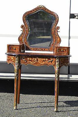 Louis Style French Marquetry Inlaid Dressing Table Ormolu Details