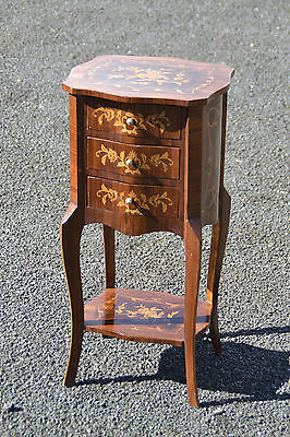 Louis Style French Marquetry Inlaid Bedside Drawers Table Ormolu Details
