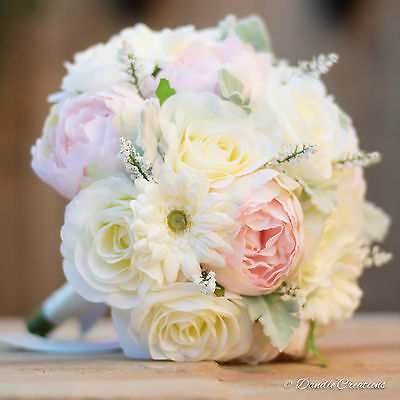 Silk Rose & Peony Wedding Flowers, Light Pink & Ivory, Bridal Bouquet Collection