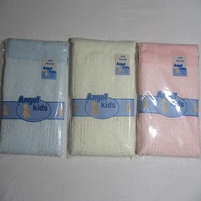 Baby Wrap Christening White Pink Blue Cream Acrylic Blanket Shawl 122cmx122cm