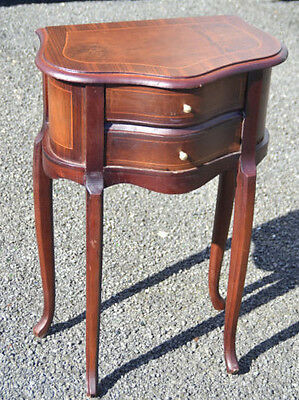 Louis Style French Inlaid Bedside Drawers Table