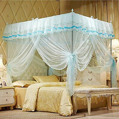 Mosquito Net Bed Canopy-Lace Luxury 4 Corner Square Princess Fly Screen, #379