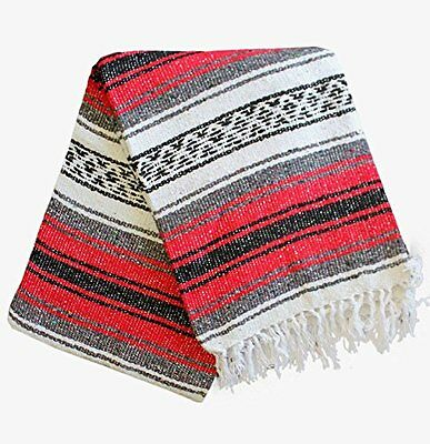 Del Mex Classic Mexican Blanket Vintage Style Red