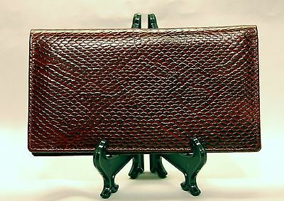 Mohawk Snake Skin Embossed Burgundy Leather Checkbook Cover