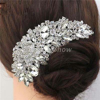 Vintage Large Silver Bridal Crystal Hair Combs Waterdrop Flower Wedding Tiara