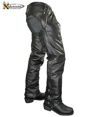 Xelement Mens Cowhide Leather Motorcycle Chaps with Removable Liner size 30