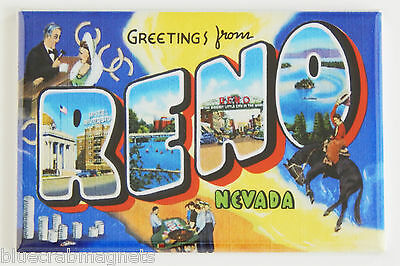 Greetings from Reno FRIDGE MAGNET (2.5 x 3.5 inches) nevada travel souvenir