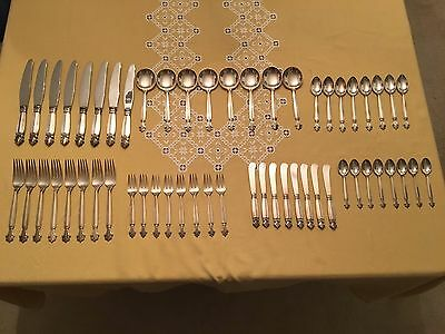 Georg Jensen Dronning Acanthus Sterling Silver Flatware Set For 8 Seats 56 Piece
