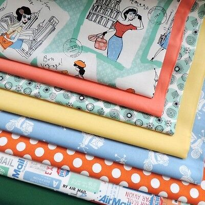 QUILT Vacation by Makower Postcards Airmail Spot Cotton Craft Sewing Fabric