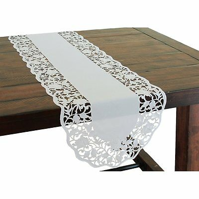 XIA Home Fashions XD141181554 Somerset Embroidered Cutwork Floral Table Runner