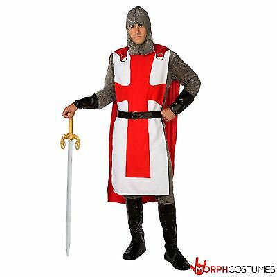 Mens Medieval Knight Fancy Dress Costume Crusader Lancelot Lord Outfit