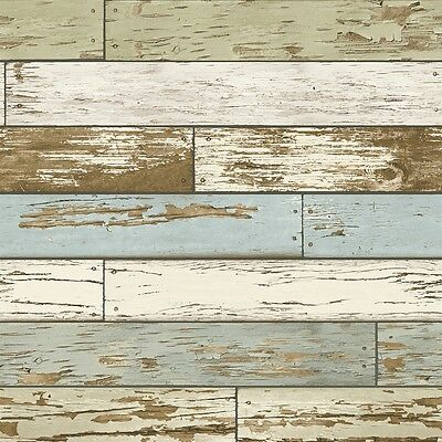 Brewster Home Fashions 2701-22302 Reclaimed Sky Blue Scrap Wood Wallpaper