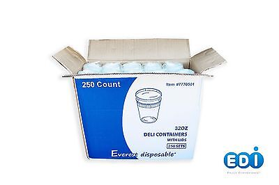 EDI 250 Sets Deli Food Round Containers Soup Cup Plastic 8/16/32oz. with Lids