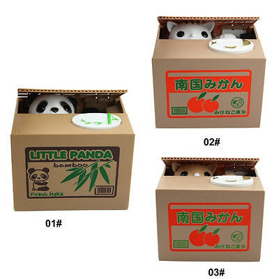 Funny Chatora Mischief Panda Cat Pig Automated Steal Coin Savings Box Piggy Bank