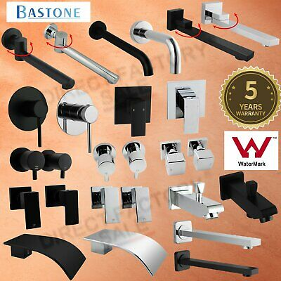 Wall Water Bath Spout Basin Mixer Tap SPA Laundry Sink Black Chrome Square Round
